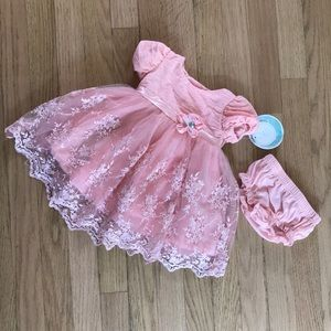 Nanette baby dress, pink lace, 3-6 months